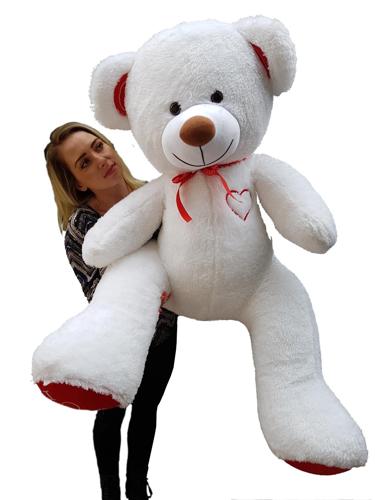 Teddybär Plüschbär Kuscheltier Stofftier Schmusebär Riesen Geschenkidee 160cm weiß-rot-b